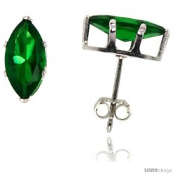 Sterling Silver Cubic Zirconia Stud Earrings Marquise Shape 1.0 cttw Emerald Green