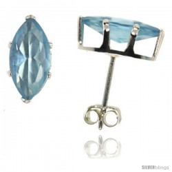 Sterling Silver Cubic Zirconia Stud Earrings Marquise Shape 2 cttw Blue Topaz colored