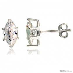 Sterling Silver Cubic Zirconia Stud Earrings 1 cttw Marquise Shape