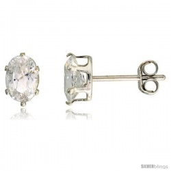 Sterling Silver Cubic Zirconia Stud Earrings 3/4 cttw Oval Shape