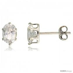 Sterling Silver Cubic Zirconia Stud Earrings 3/4 cttw Oval Shape