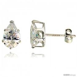 Sterling Silver Cubic Zirconia Stud Earrings 1 3/4 cttw Pear Shape