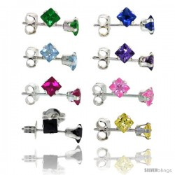 8 pair set Sterling Silver Square Colored Cubic Zirconia Stud Earrings 1/5 cttw Emerald, Blue Sapphire, Blue Topaz, Amethyst