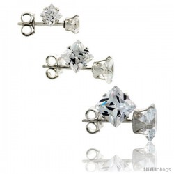 3-Pair Set Sterling Silver Cubic Zirconia Stud Earrings 3, 4 and 5mm Princess Cut