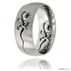 Surgical Steel Domed 9mm Tribal Gecko Ring Wedding Band Comfort-Fit