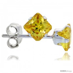 Sterling Silver Princess cut Cubic Zirconia Stud Earrings 4 mm Citrine Yellow Color 3/4 cttw