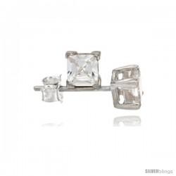 Sterling Silver Princess cut Cubic Zirconia Stud Earrings Basket Setting 4 mm 0.80 cttw