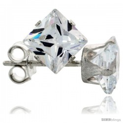 Sterling Silver Princess cut Cubic Zirconia Stud Earrings 1 1/2 cttw