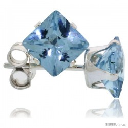 Sterling Silver Princess cut Cubic Zirconia Stud Earrings 5 mm Topaz Blue Color 1 1/2 cttw