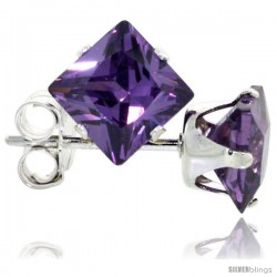 Sterling Silver Princess cut Cubic Zirconia Stud Earrings 5 mm Amethyst Purple Color 1 1/2 cttw