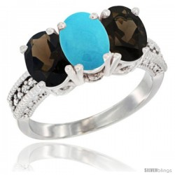 10K White Gold Natural Turquoise & Smoky Topaz Sides Ring 3-Stone Oval 7x5 mm Diamond Accent
