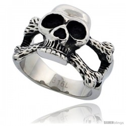 Surgical Steel Biker Skull Ring and Cross Bones 5/8 in long