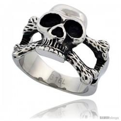 Surgical Steel Biker Skull Ring and Cross Bones 5/8 in long