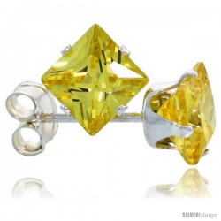 Sterling Silver Princess cut Cubic Zirconia Stud Earrings 5 mm Citrine Yellow Color 1 1/2 cttw
