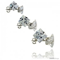 3-Pair Set Sterling Silver Cubic Zirconia Stud Earrings 5, 6 and 7mm Princess Cut