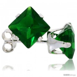 Sterling Silver Princess cut Cubic Zirconia Stud Earrings 6 mm Emerald Green Color 2 1/2 cttw