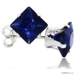 Sterling Silver Princess cut Cubic Zirconia Stud Earrings 6 mm Sapphire Blue Color 2 1/2 cttw