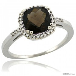 Sterling Silver Diamond Natural Smoky Topaz Ring 1.5 ct Checkerboard Cut Cushion Shape 7 mm, 3/8 in wide
