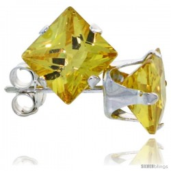 Sterling Silver Princess cut Cubic Zirconia Stud Earrings 6 mm Citrine Yellow Color 2 1/2 cttw