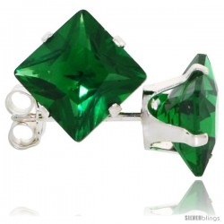 Sterling Silver Princess cut Cubic Zirconia Stud Earrings 7 mm Emerald Green Color 4 cttw
