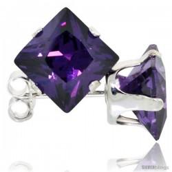Sterling Silver Princess cut Cubic Zirconia Stud Earrings 7 mm Amethyst Purple Color 4 cttw