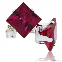 Sterling Silver Princess cut Cubic Zirconia Stud Earrings 7 mm Ruby Red Color 4 cttw