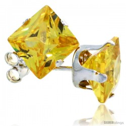 Sterling Silver Princess cut Cubic Zirconia Stud Earrings 7 mm Citrine Yellow Color 4 cttw