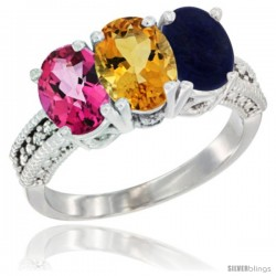 14K White Gold Natural Pink Topaz, Citrine & Lapis Ring 3-Stone 7x5 mm Oval Diamond Accent