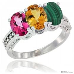 14K White Gold Natural Pink Topaz, Citrine & Malachite Ring 3-Stone 7x5 mm Oval Diamond Accent