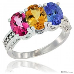 14K White Gold Natural Pink Topaz, Citrine & Tanzanite Ring 3-Stone 7x5 mm Oval Diamond Accent