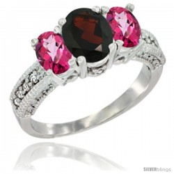 14k White Gold Ladies Oval Natural Garnet 3-Stone Ring with Pink Topaz Sides Diamond Accent