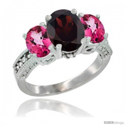 14K White Gold Ladies 3-Stone Oval Natural Garnet Ring with Pink Topaz Sides Diamond Accent