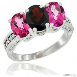 14K White Gold Natural Garnet & Pink Topaz Sides Ring 3-Stone 7x5 mm Oval Diamond Accent