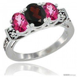 14K White Gold Natural Garnet & Pink Topaz Ring 3-Stone Oval with Diamond Accent