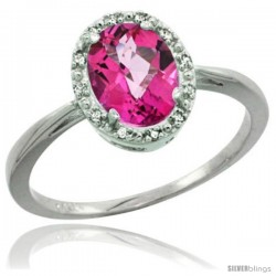 14k White Gold Pink Topaz Diamond Halo Ring 1.17 Carat 8X6 mm Oval Shape, 1/2 in wide