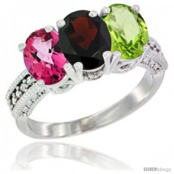 14K White Gold Natural Pink Topaz, Garnet & Peridot Ring 3-Stone 7x5 mm Oval Diamond Accent