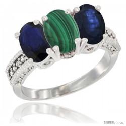 14K White Gold Natural Malachite & Blue Sapphire Sides Ring 3-Stone 7x5 mm Oval Diamond Accent