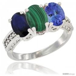 14K White Gold Natural Blue Sapphire, Malachite & Tanzanite Ring 3-Stone 7x5 mm Oval Diamond Accent