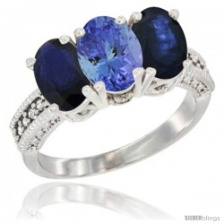 14K White Gold Natural Tanzanite & Blue Sapphire Sides Ring 3-Stone 7x5 mm Oval Diamond Accent