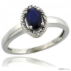 14k White Gold Diamond Halo Quality Blue Sapphire Ring 0.64 Carat Oval Shape 6X4 mm, 3/8 in (9mm) wide