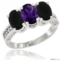 14K White Gold Natural Amethyst & Black Onyx Sides Ring 3-Stone 7x5 mm Oval Diamond Accent