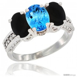 14K White Gold Natural Swiss Blue Topaz & Black Onyx Sides Ring 3-Stone 7x5 mm Oval Diamond Accent