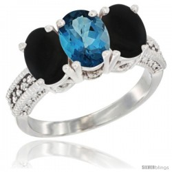 14K White Gold Natural London Blue Topaz & Black Onyx Sides Ring 3-Stone 7x5 mm Oval Diamond Accent