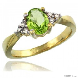 14k Yellow Gold Ladies Natural Peridot Ring oval 7x5 Stone Diamond Accent -Style Cy411168