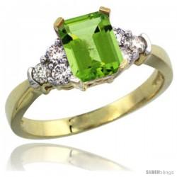 14k Yellow Gold Ladies Natural Peridot Ring Emerald-shape 7x5 Stone Diamond Accent