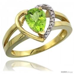 14k Yellow Gold Ladies Natural Peridot Ring Heart-shape 5 mm Stone Diamond Accent