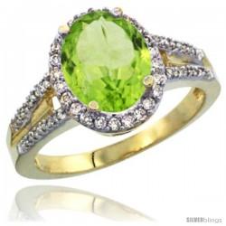 14k Yellow Gold Ladies Natural Peridot Ring oval 10x8 Stone Diamond Accent