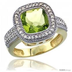 14K Yellow Gold Natural Peridot Ring Diamond Accent, Cushion-cut 9x9 Stone Diamond Accent