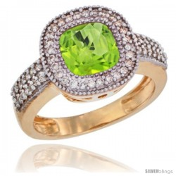 14k Yellow Gold Ladies Natural Peridot Ring Cushion-cut 3.5 ct. 7x7 Stone Diamond Accent