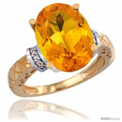 10k Yellow Gold Diamond Citrine Ring 5.5 ct Oval 14x10 Stone
